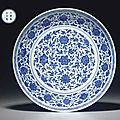 A rare large ming-style blue and white dish, yongzheng six-character mark and of the period (1723-1735)