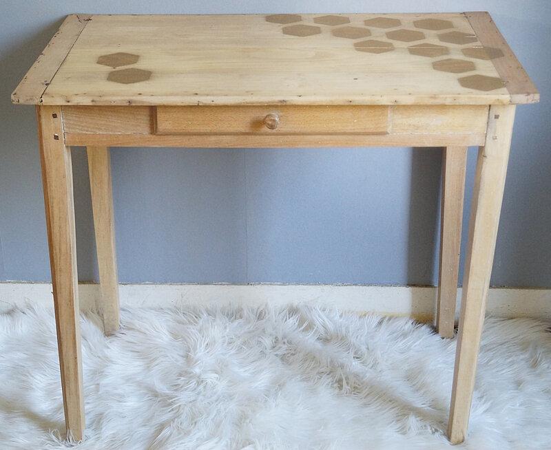 table decor hexagones - avant - apres