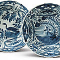 Two blue and white 'kraak' bowls, ming dynasty, wanli period (1573-1620)