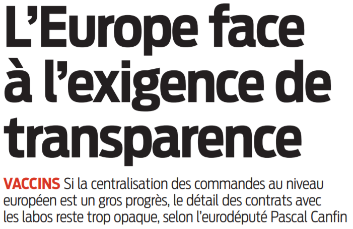 2021 01 13 SO L'Europe face à l'exigence de transparence