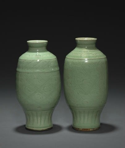 Two Longquan celadon vases, Ming dynasty. Photo: Bonhams.