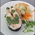 Darnes de saumon au micro-ondes & salsa verde