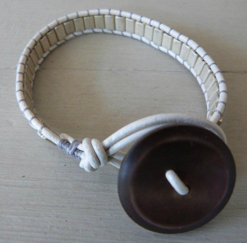 Bracelet Bohème - perles Metallic beiges (2)