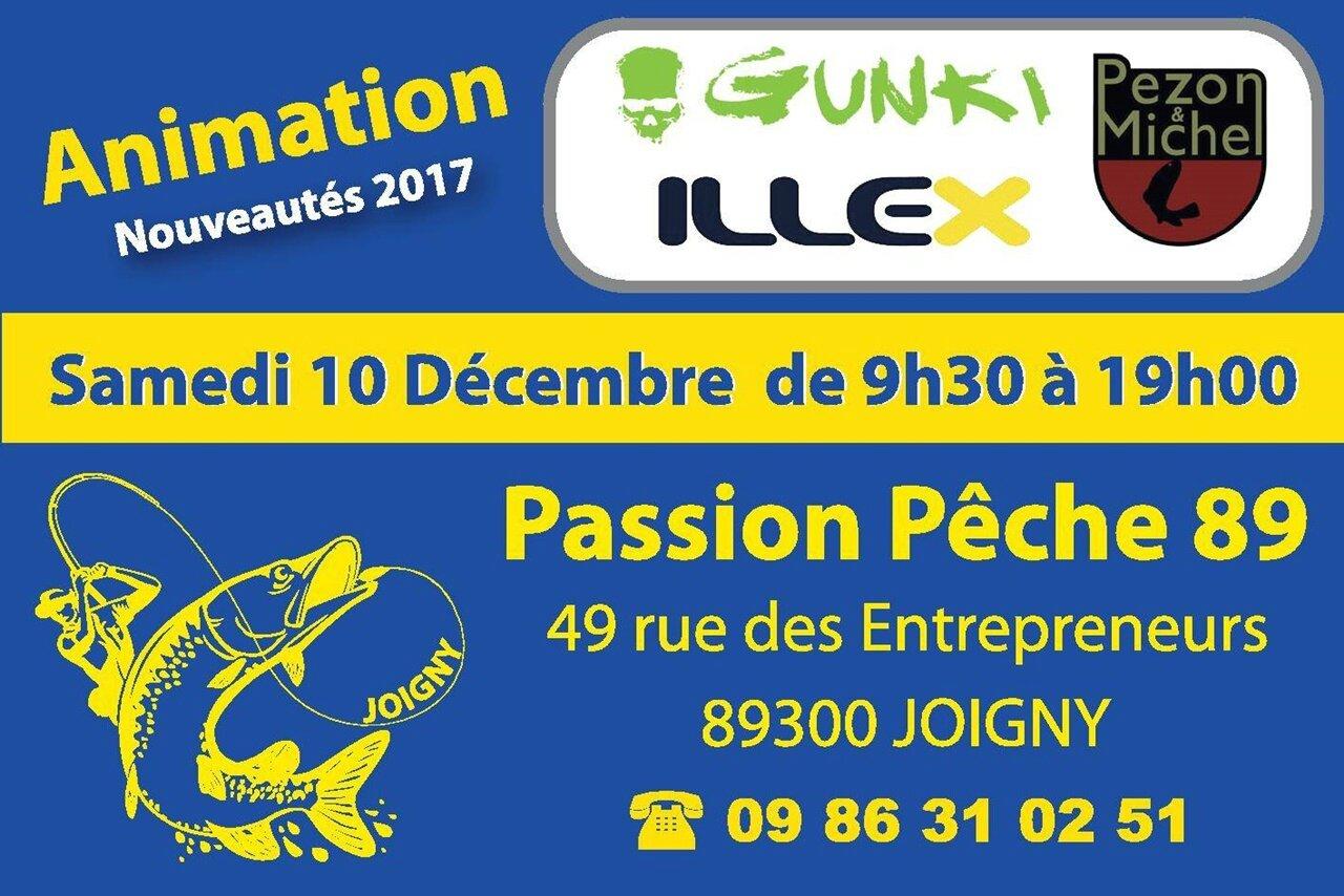 """Animation au magasin """"PASSION PÊCHE 89"""" à Joigny (89) le samedi 10 décembre 2016 !!!"""