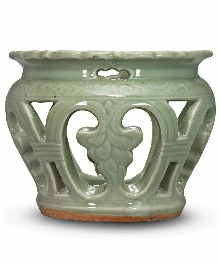 A Longquan celadon reticulated stand, Ming dynasty, 15th century