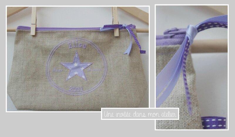 Trousse lin-personnalisée-violet