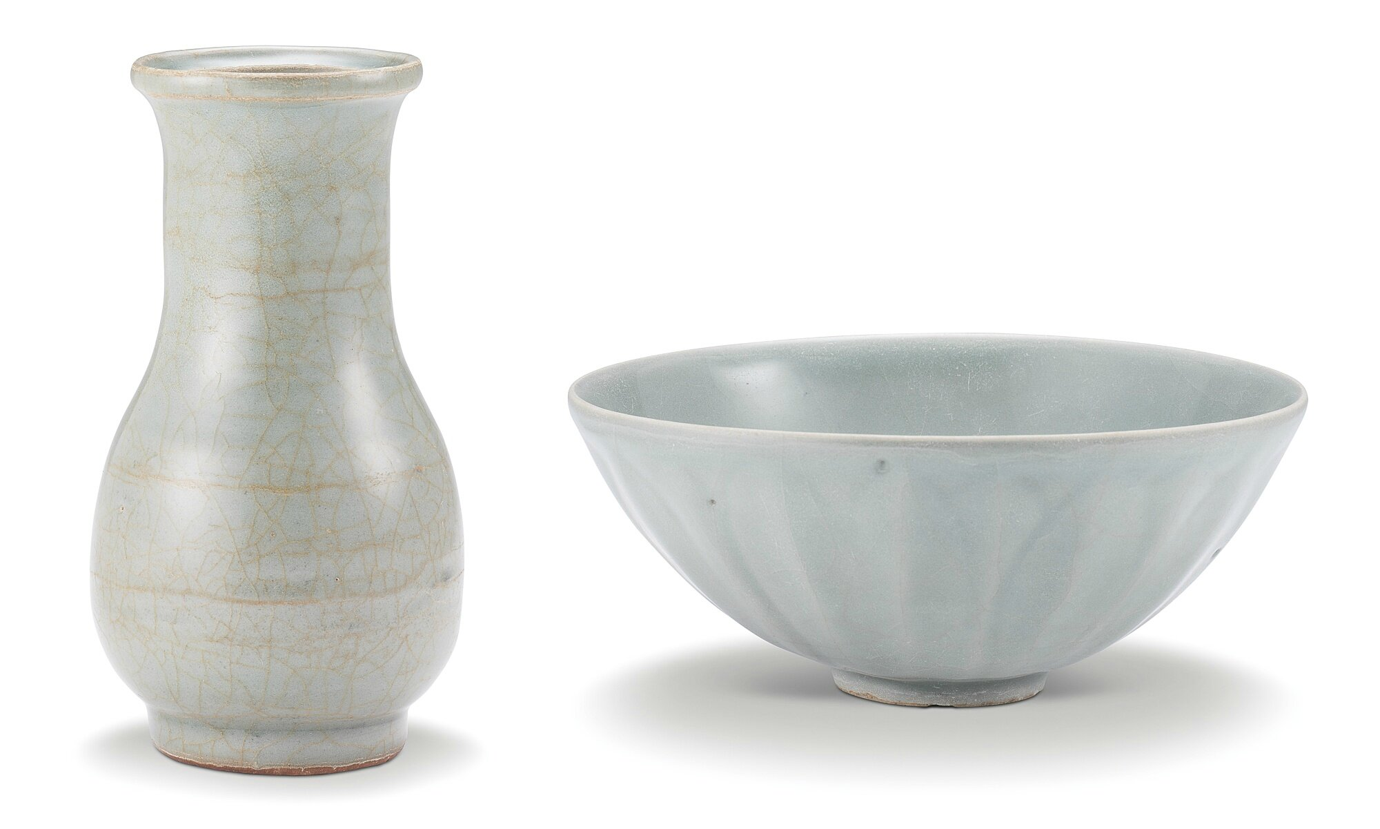 A Longquan celadon vase and a Longquan celadon 'lotus' bowl, Southern Song dynasty (1127-1279)