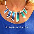 Collier géométrique en fimo vert et bleu