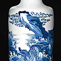 A blue and whiterouleauvase, kangxi period (1662-1722)
