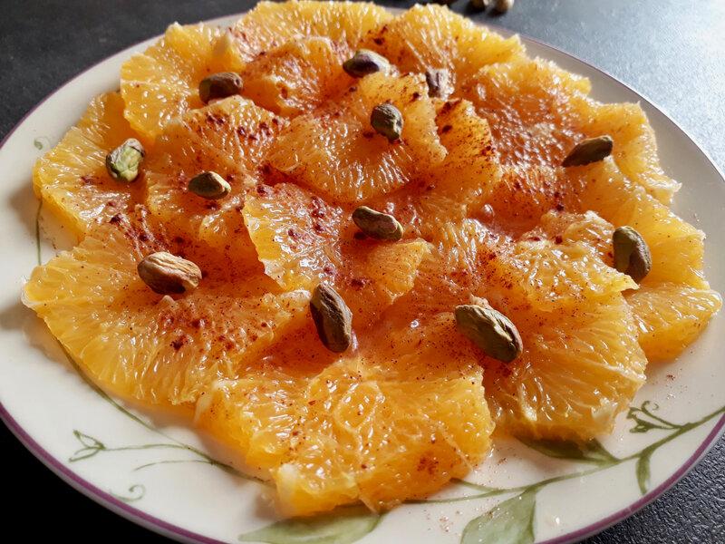 salade oranges cannelle pistaches IG bas