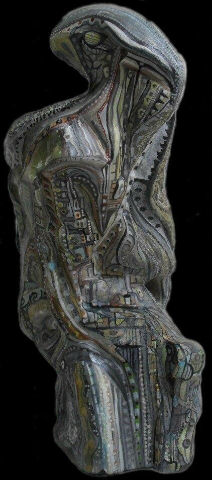 Hervé THAREL SCHMIMBLOCK'S minor 2013 - 18cmx9,5cm acrylique sur argile (4b)
