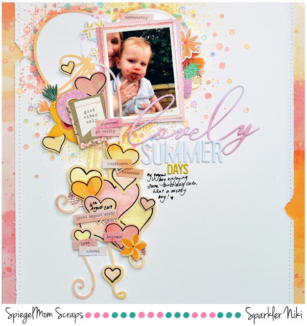 Lovely Summer Days Niki Rowland Spiegel Mom Scraps Confessions of a paper addict COAPA Pinkfresh Studio Just a Little Lovely scrapbooking