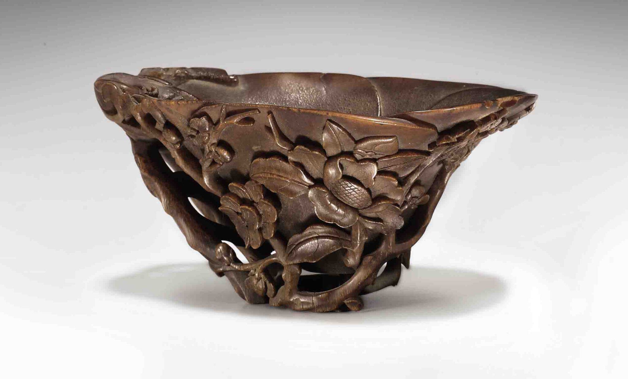 A Rhinoceros Horn Flower Form Cup, 17th-18th Century