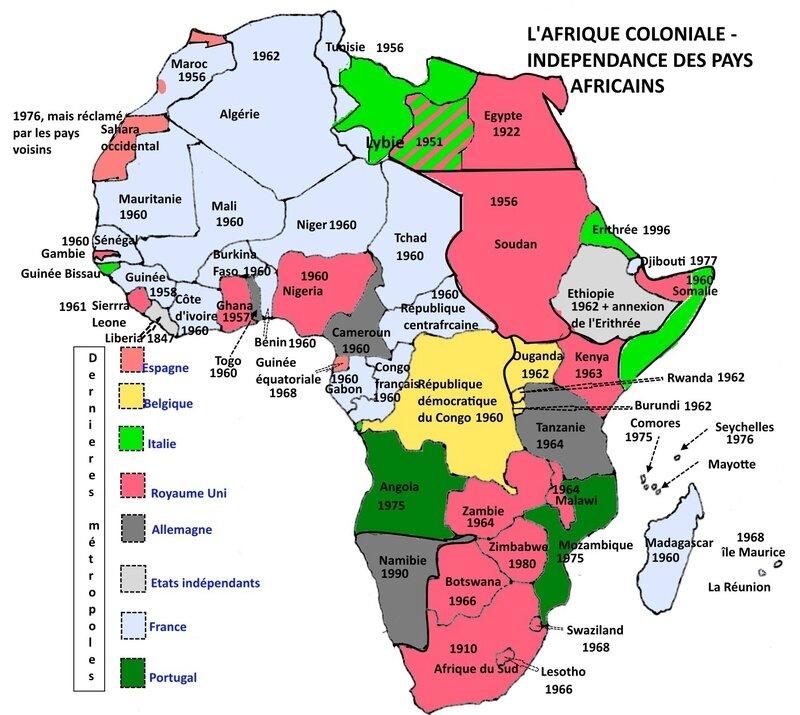 L'Afrique coloniale - accession à l'indépendance des pays africains