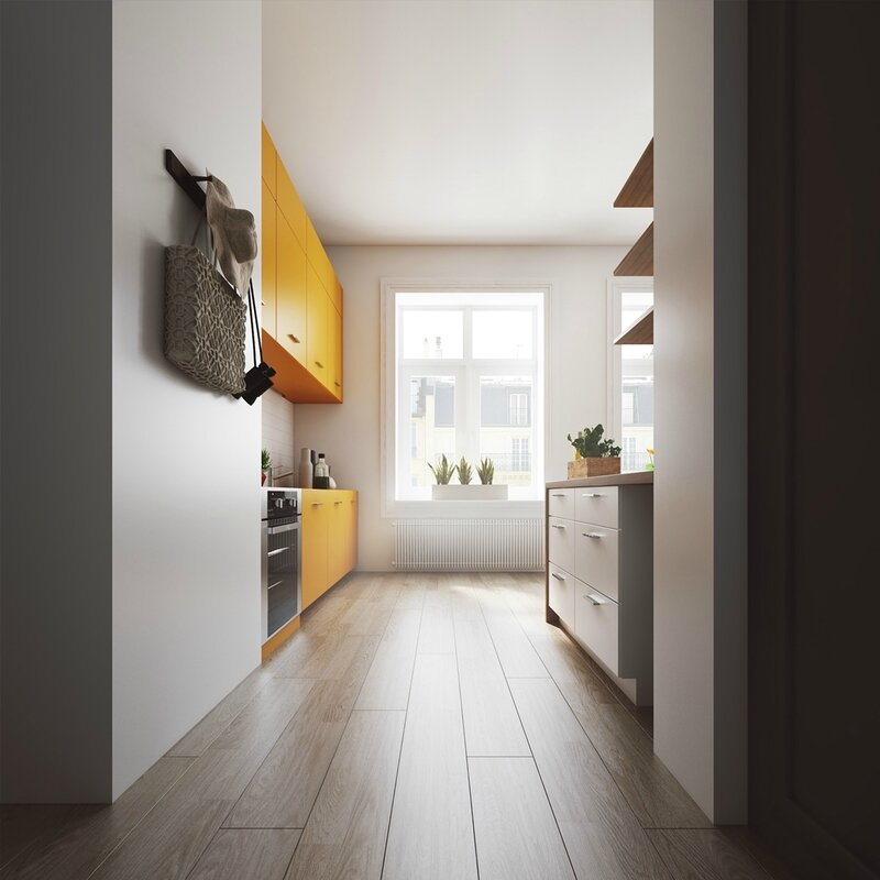 Scandinavian-hallway-mustard-feature-cabinetry-white-kitchen