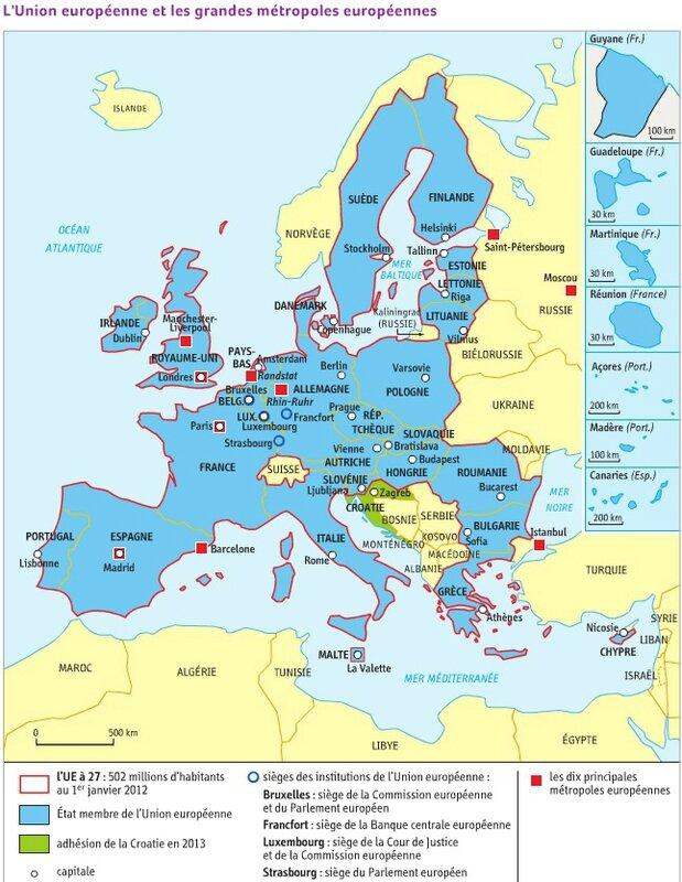 Union Européenne (pays, capitales, institutions de l'UE, 10 premières métropoles)