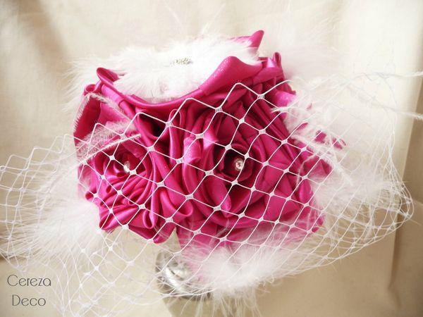 26 janv bouquet mariée cabaret fuchsia blanc strass plumes 3