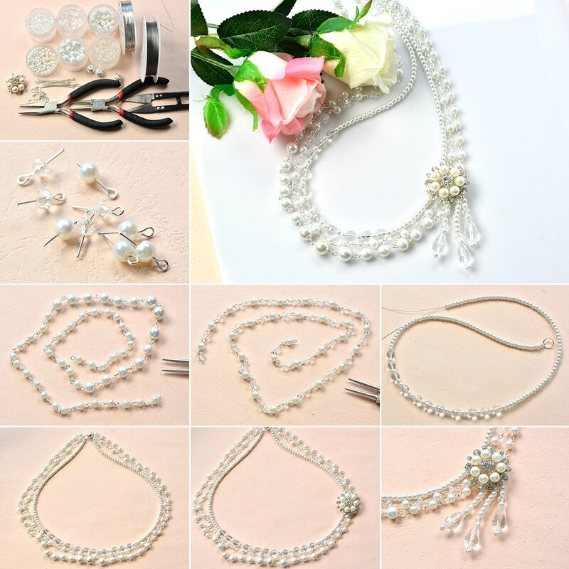 Three-Strand Pearl Bead Chain Necklace