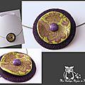 collier corolle violet et tampon fleur
