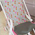 Assise pour poussette poupée, plaid et coussin assortis1