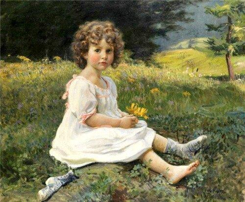 Hofer Gottfried little-girl-in-white-dress-on-a-meadow