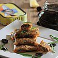 Croustillants a la sardine millesimee - olives noires et pate de tomates sechees