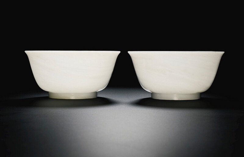 A fine pair of white jade bowls, Qing dynasty, 18th century1