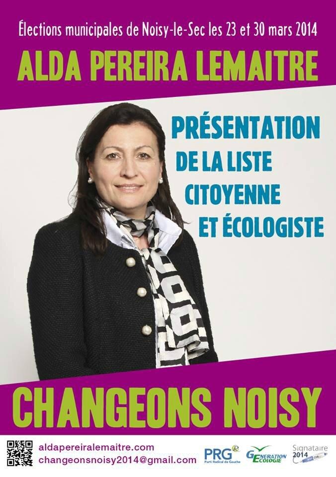 Alda Pereira Noisy-le-sec tract de campagne 2014