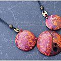 Parure lentilles mokumé gané rouge orange