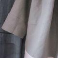 manteau d'été bicolore en lin gris et rose (5)