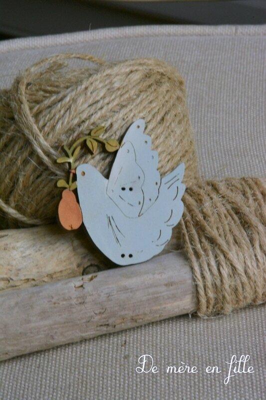 colombe grise bleutée et poire