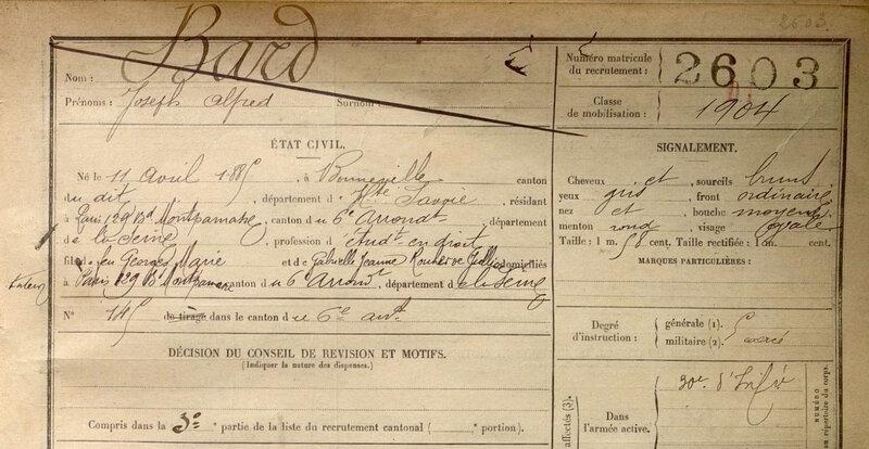 BARD Alfred, fiche matricule (1)
