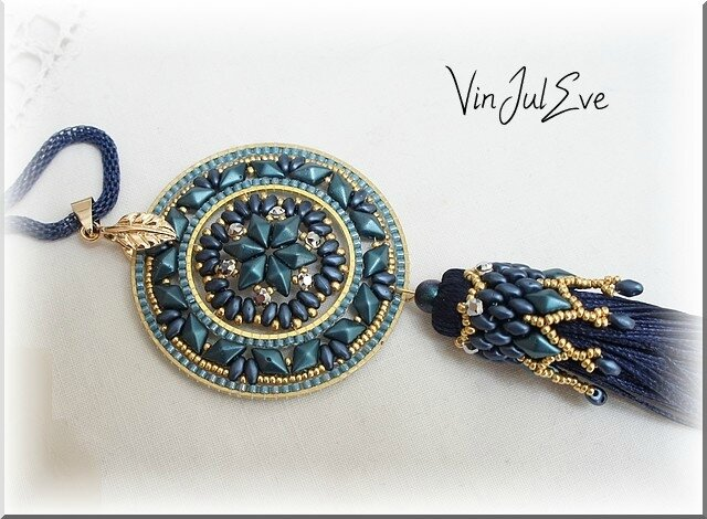 collier Staka bleu or