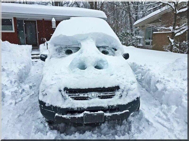 voiture enneigée