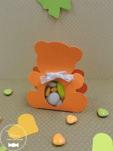 sujet-bapteme-ballotin-pochon-boite-dragees-ourson-nounours-orange-etiquette-papillon-coeur-vert-anis-amande-avola-chocolat