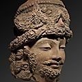 Head of a bodhisattva, afghanistan, 3rd-4th century ad