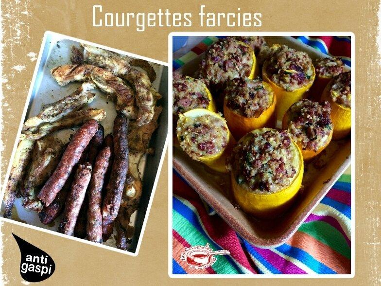 courgettes farcies avec reste de grillades(scrap)