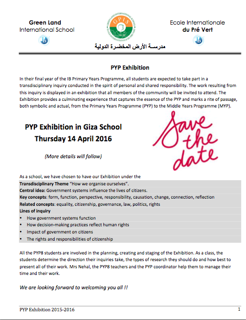 PYP EXHIBITION PAGE 1