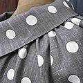 Veste BLANCHE en lin gris à pois blancs (1)