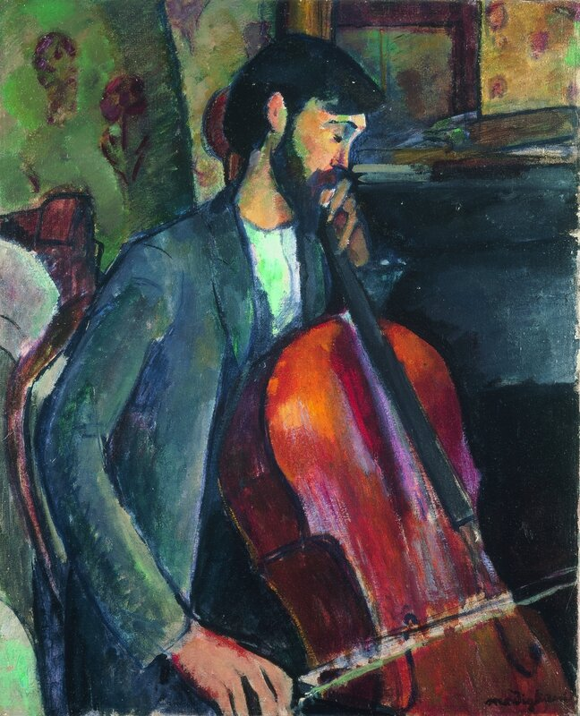 Amedeo Modigliani (Italian, 1884-1920) (recto of next image) Le violoncelliste (The Violoncello Player), 1909