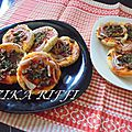 Mini pizzas en tartelettes pâte au vinaigre