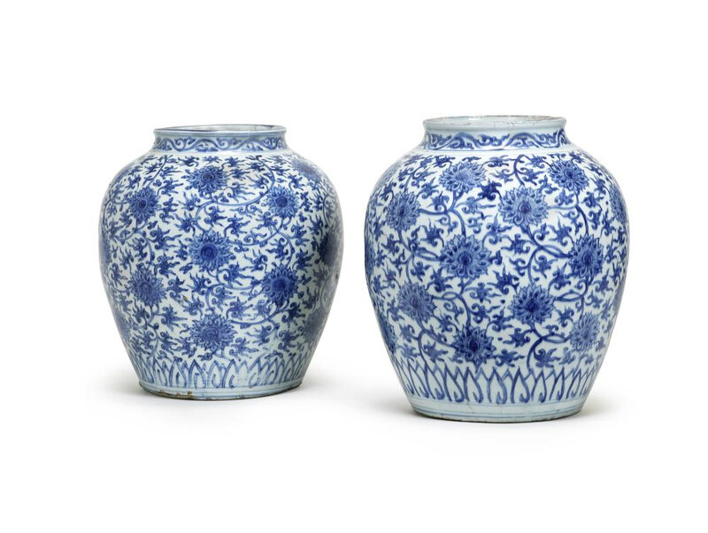 A pair of large blue and white 'lotus' jars Wanli