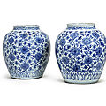 A pair of large blue and white 'lotus' jars, wanli period (1573-1620)