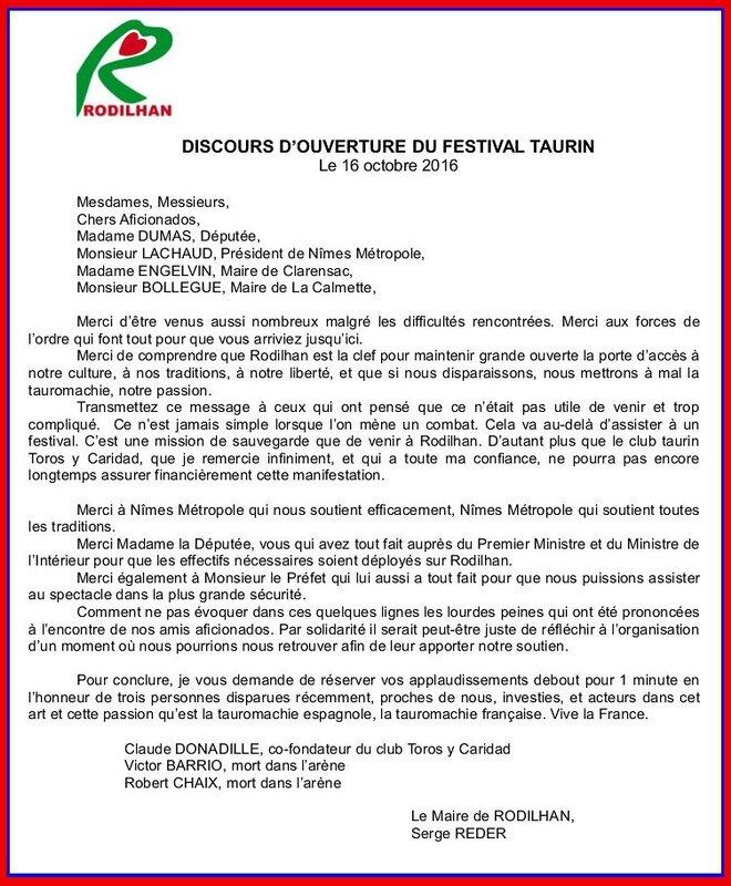 DISCOURS FESTIVAL TAURIN DU 16