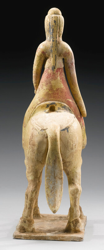 A straw-glazed and cold-painted figure of an equestrienne, Tang dynasty (618-906)5