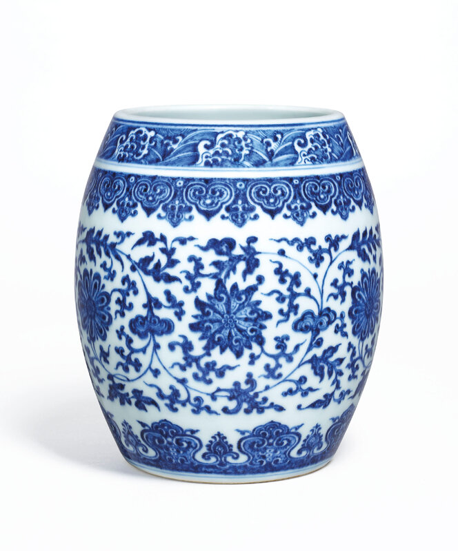 2020_HGK_18242_2844_000(a_fine_and_rare_blue_and_white_barrel-form_jar_qianlong_six-character)