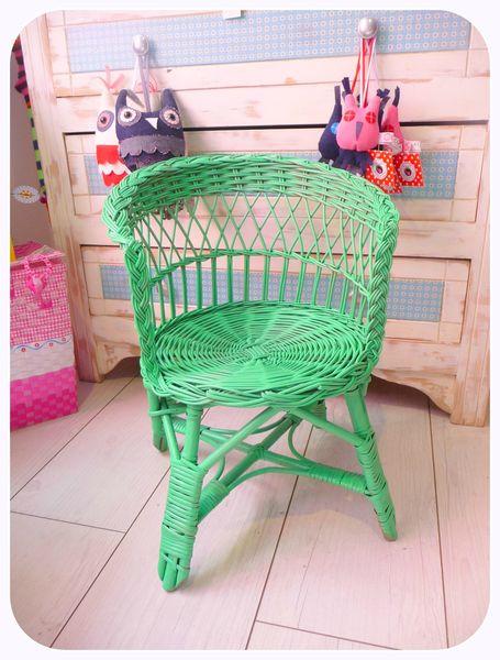 fauteuil osier enfant vert d'eau
