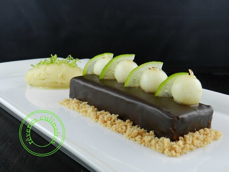 Poire After Eight et crumble, sorbet poire citron vert