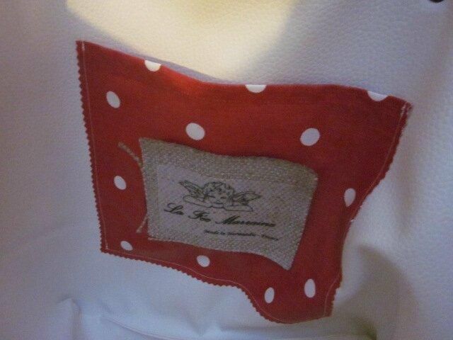 Sac FELICIE n°37 en lin et coton enduit rouge à pois - poche en simili cuir blanc - anciennes sangles militaires (2)