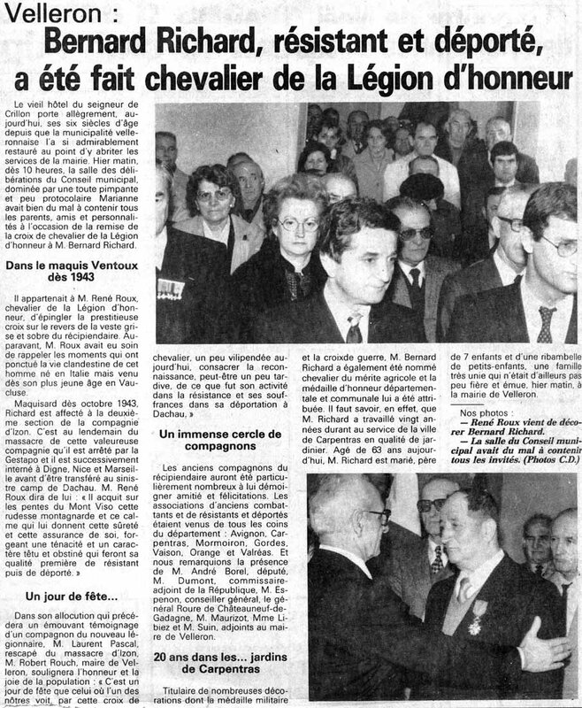 Article de presse, collection Famille de Louis et André RICHARD